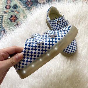 pop shoes kids light up sneaker blue check velcro